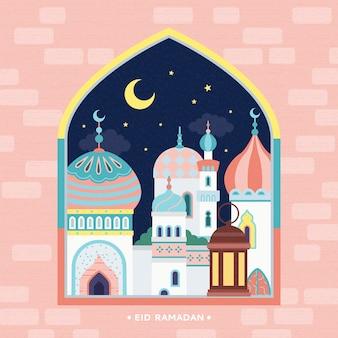 Diseño de vacaciones de eid mubarak, vista de la mezquita desde la ventana del arco rosa