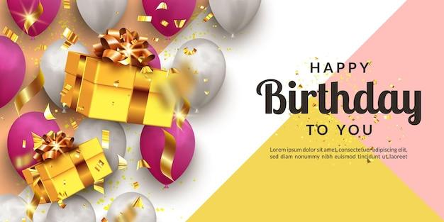 Diseño de vacaciones de feliz cumpleaños para tarjetas de felicitación o banner con globos y confeti. plantilla para celebración de cumpleaños.