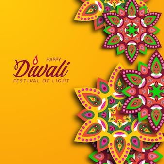 Diseño de vacaciones del festival de diwali con estilo de corte de papel de la decoración floral de mandala de rangoli indio con fondo amarillo