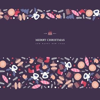 Diseño de vacaciones de navidad con elementos de invierno dibujados a mano de estilo garabatos. fondo oscuro con texto de saludo, ilustración vectorial.