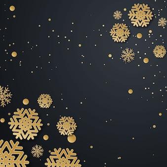 Diseño de vacaciones de navidad con papel cortado estilo copo de nieve. exquisito fondo oscuro con copos de nieve dorados. lugar para su texto.
