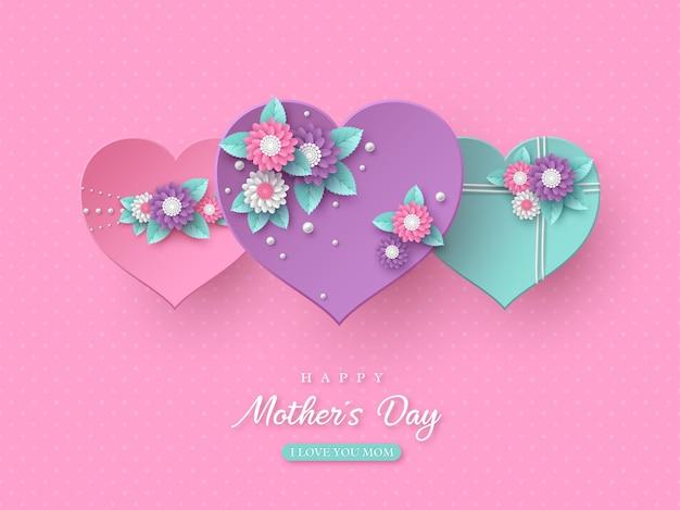 Diseño de vacaciones de saludo de feliz día de las madres. papel artesanal estilo 3d corazones decorados con flores en rosa manchado