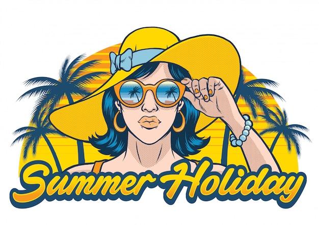 Diseño de vacaciones de verano con chica con gafas de sol