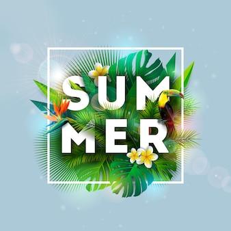 Diseño de vacaciones de verano con pájaro tucán