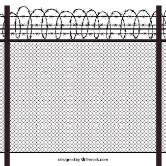 Diseño de valla de metal con alambre de espino