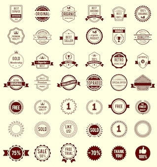 Diseño variedad vector insignias vintage retro granate aisladas