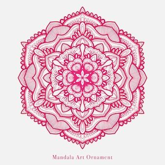 Diseño de vector de arte mandala de arte lineal con motivos florales