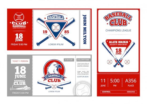 Diseño de vector de boleto deportivo de béisbol con emblemas de equipo de béisbol vintage