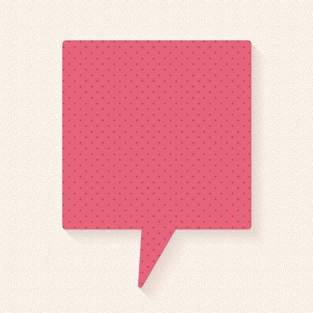 Diseño de vector de burbuja de discurso de anuncio, estilo de patrón de papel punteado
