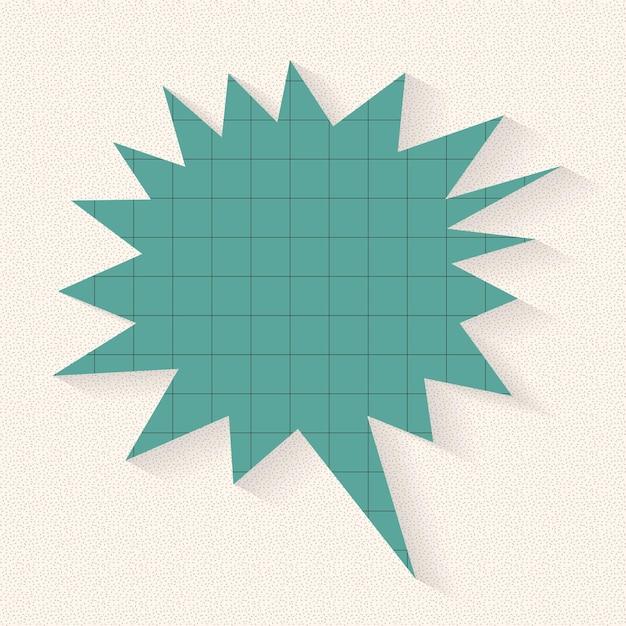 Diseño de vector de burbuja de discurso de explosión, estilo de patrón de papel de cuadrícula