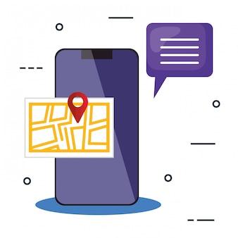 Diseño de vector de burbuja y mapa de marca de smartphone y gps