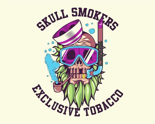 Diseño del vector de la camiseta de los fumadores del cráneo