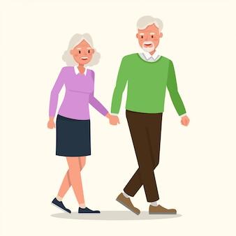 Diseño de vector de carácter abuelo y abuela.