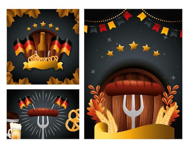 Diseño de vector de cerveza y salchicha oktoberfest de alemania