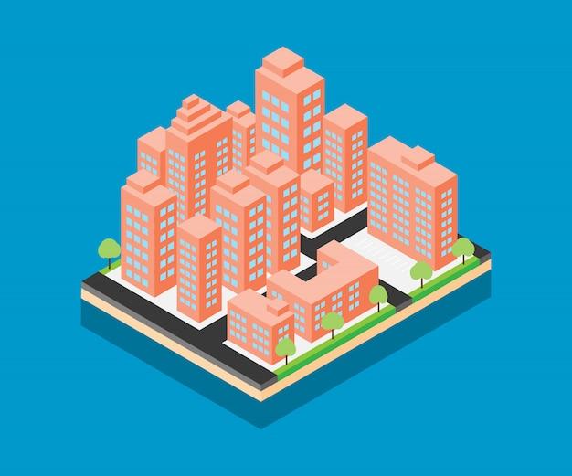 Diseño del vector de la ciudad isométrica sobre fondo azul