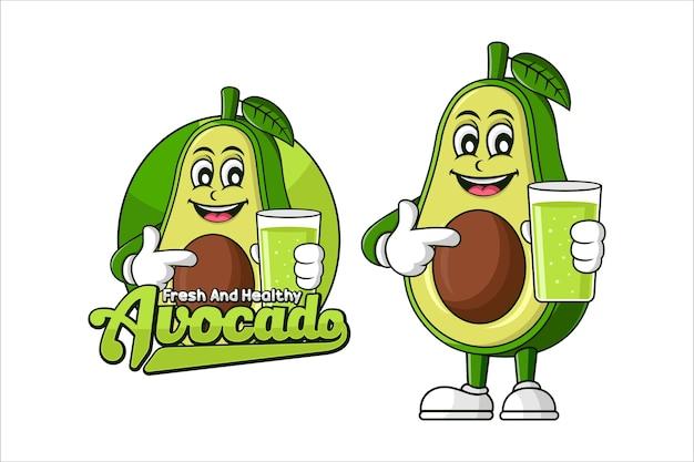 Diseño de vector de comida sana de jugo de aguacate