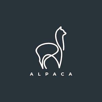 Diseño de vector de contorno de logo de alpaca