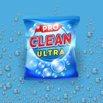 Diseño de vector detergente azul en plantilla de paquete de bolsa