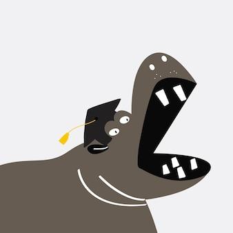 Diseño de vector de dibujos animados lindo hipopótamo