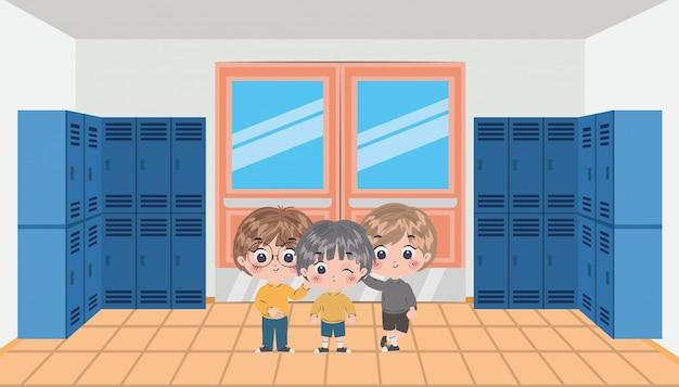 Diseño de vector de dibujos animados de niños de escuela