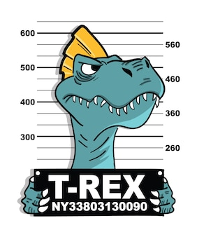 Diseño de vector de dinosaurio fresco dibujado a mano para impresión de camiseta