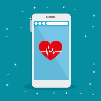 Diseño de vector de frecuencia cardíaca y teléfono inteligente