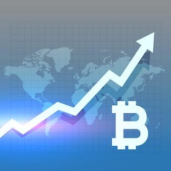 Diseño de vector de gráfico de crecimiento de bitcoing