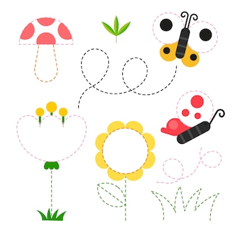 Diseño de vector de hoja de trabajo de jardín