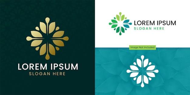 Diseño de vector de icono de logotipo de flor de hoja de árbol elegante abstracto símbolo premium creativo universal