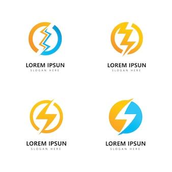 Diseño de vector de icono de logotipo de rayo