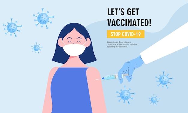 Diseño de vector de ilustración de campaña de vacunación plana