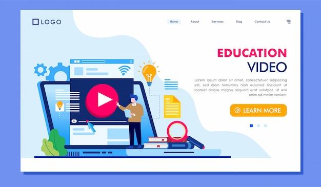 Diseño de vector de ilustración de sitio web de página de aterrizaje de video educativo