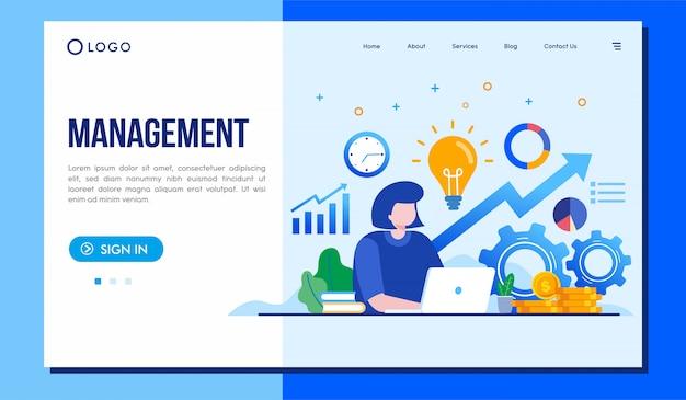 Diseño de vector de ilustración de sitio web de página de destino de gestión