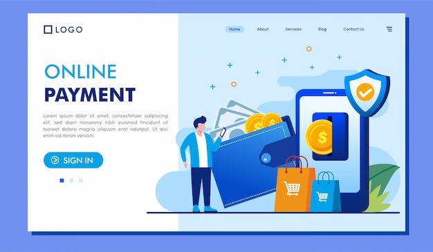 Diseño de vector de ilustración de sitio web de página de destino de pago en línea
