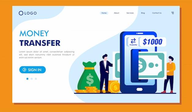 Diseño de vector de ilustración de sitio web de página de destino de transferencia de dinero