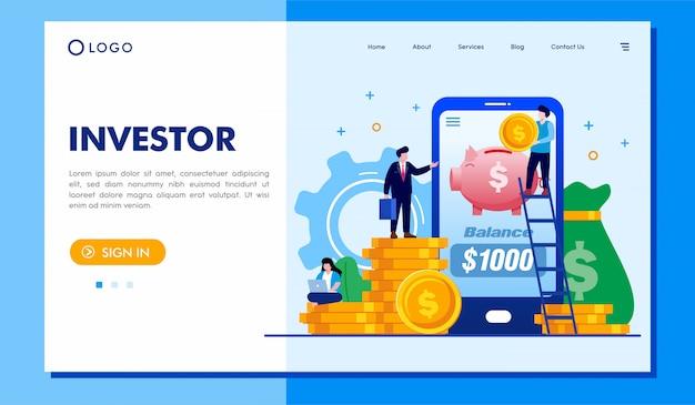 Diseño de vector de ilustración de sitio web de página de inicio de inversores