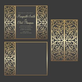 Diseño de vector de invitación de boda de corte láser de doblez de puerta. plantilla de corte para máquinas de corte por láser.