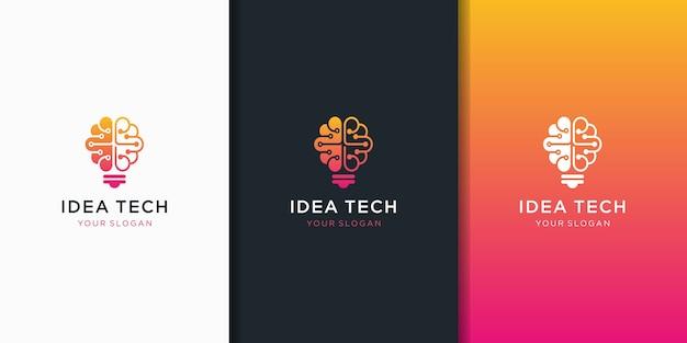 Diseño de vector de logo de bombilla de luz de cerebro