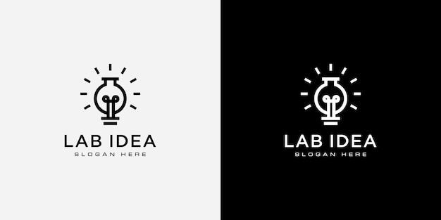 Diseño de vector de logo de idea de bombilla de laboratorio