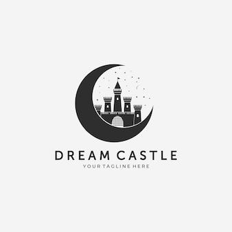 Diseño vector logotipo castillo sueño luna ilustración vintage con luna perfecta castillo sueño