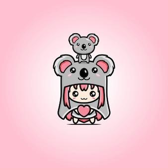 Diseño de vector de mascota de koala de amor