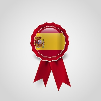 Diseño de vector de medalla de bandera de españa