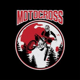 Diseño de vector de motocross de te