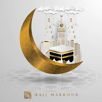 Diseño de vector de oro de saludo hajj mabrour con meca kaaba y media luna