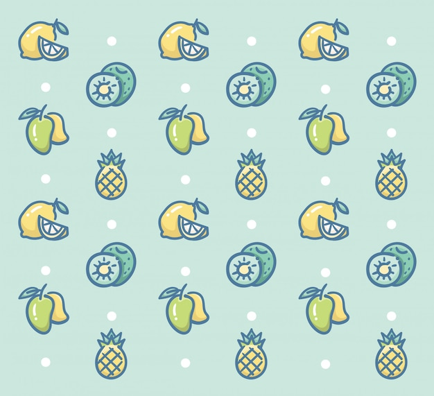 Diseño de vector de patrón de frutas frescas con limón kiwi mango y piña