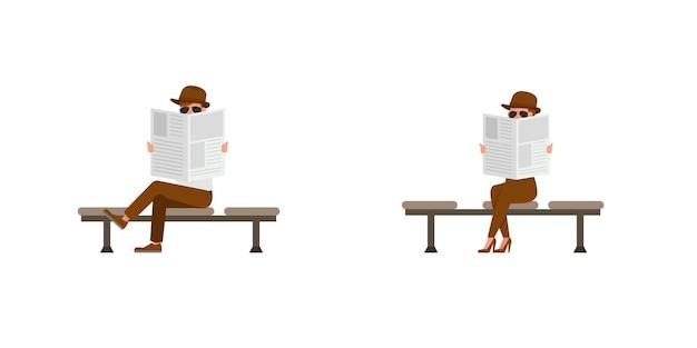 Diseño de vector de personaje de agente secreto espía. presentación en varias acciones. no12