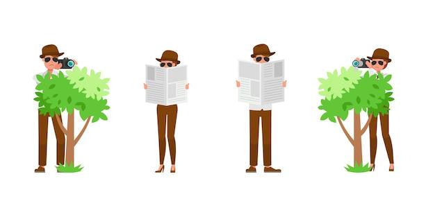 Diseño de vector de personaje de agente secreto espía. presentación en varias acciones. no2