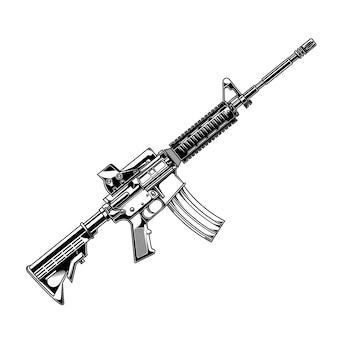 Diseño vector pistola a4 en el beground blanco