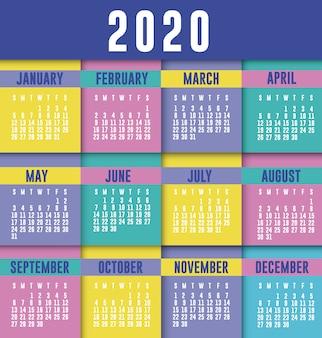 Diseño de vector de planificador de calendario 2020