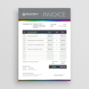 Diseño de vector de plantilla de factura para su negocio